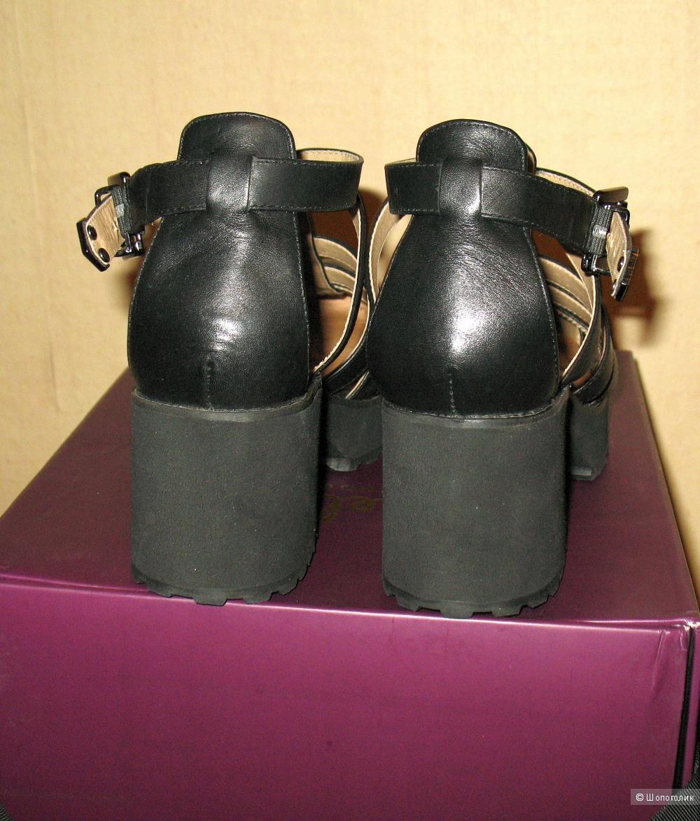 Босоножки Shellys London на платформе, натуральная кожа, черные, 37 EU (5 UK)