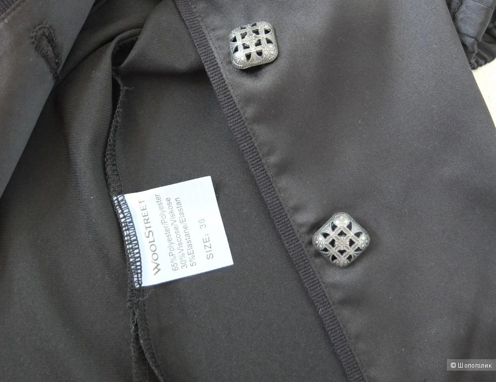 Новая черная блузка с коротким рукавом WoolStreet, размер 36