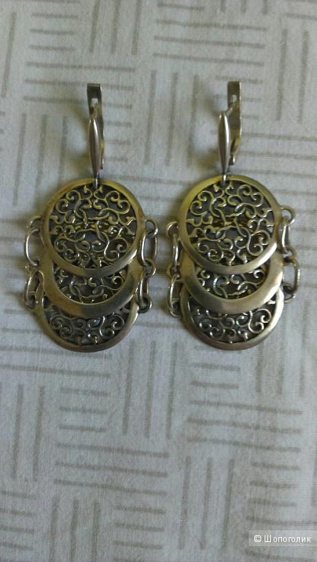 Серебряные серьги  в арабском стиле ручной работы