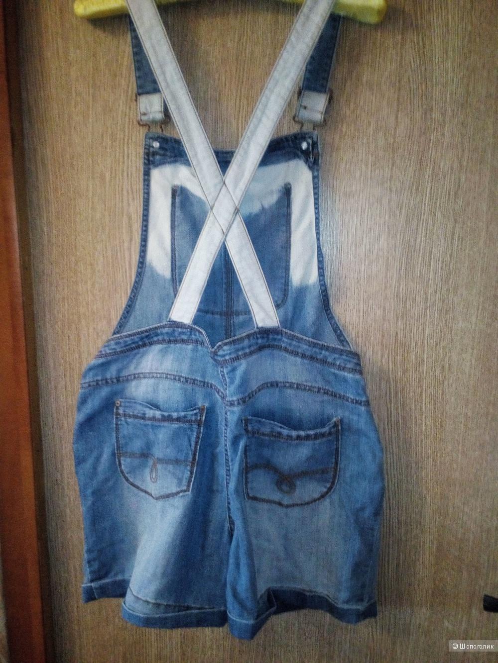 Комбинезон джинсовый, молодежный, подростковый, на 16 лет, р44-46