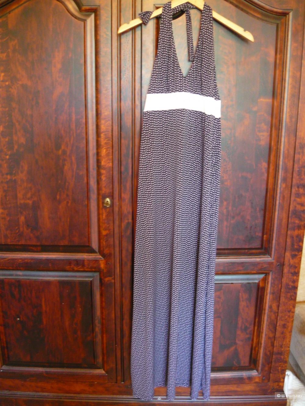 Длинный в пол летний сарафан с цветочным принтом, размер 46