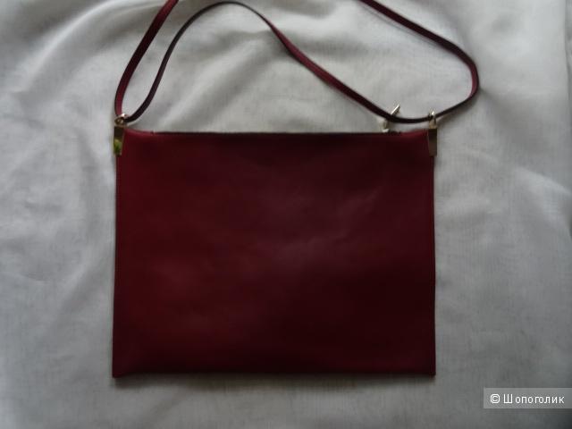 Сумка-планшет глубокого красного цвета, кожа, б/у