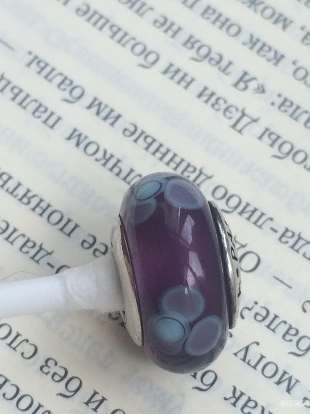 Pandora мурано кувшинка фиолетовая