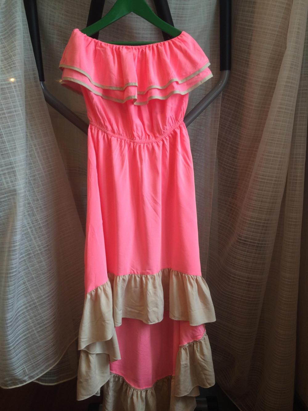 Розовое летнее платье, размер uk12