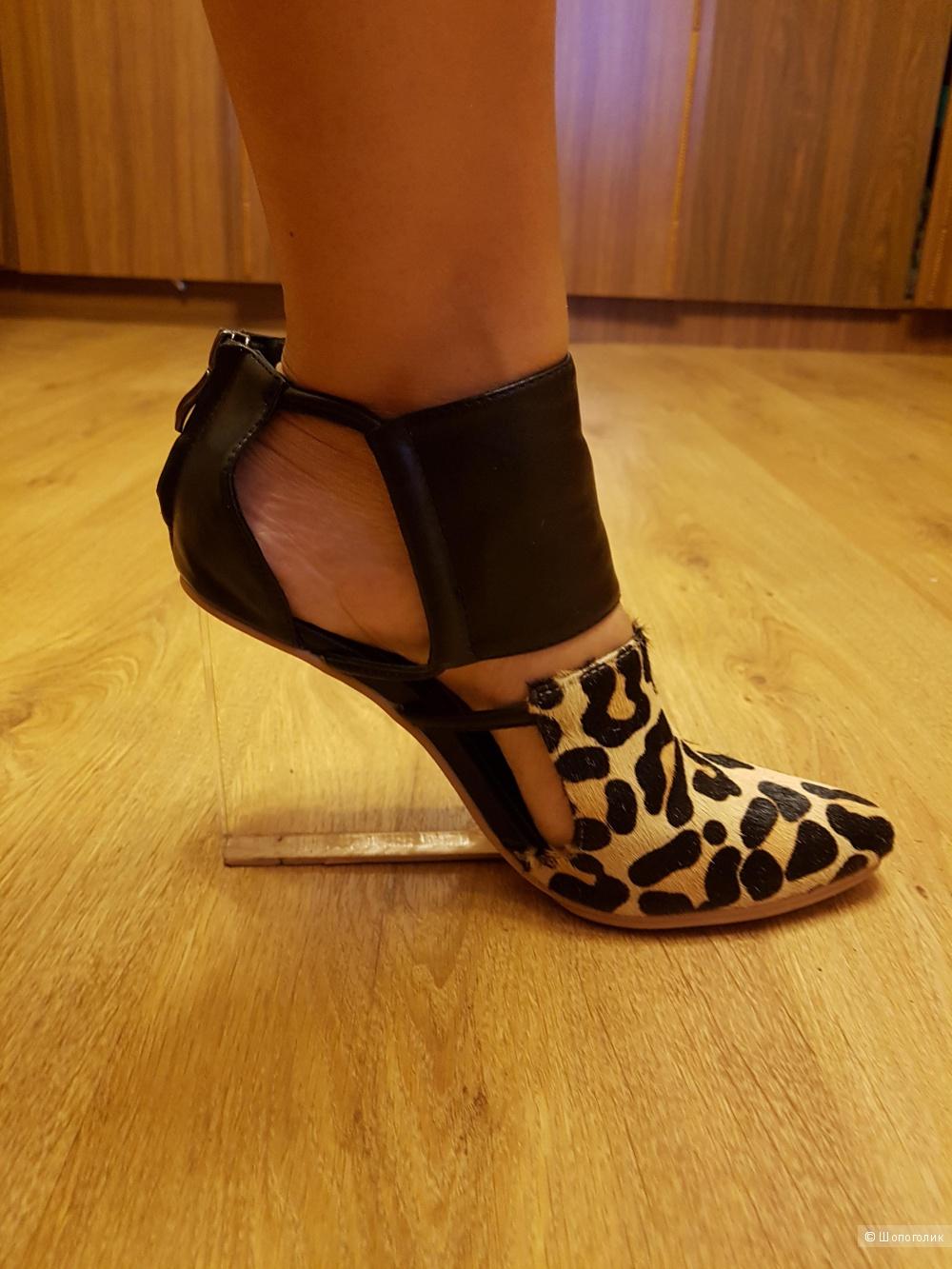 Туфли с мехом пони, на прозрачной платформе, 39 размер