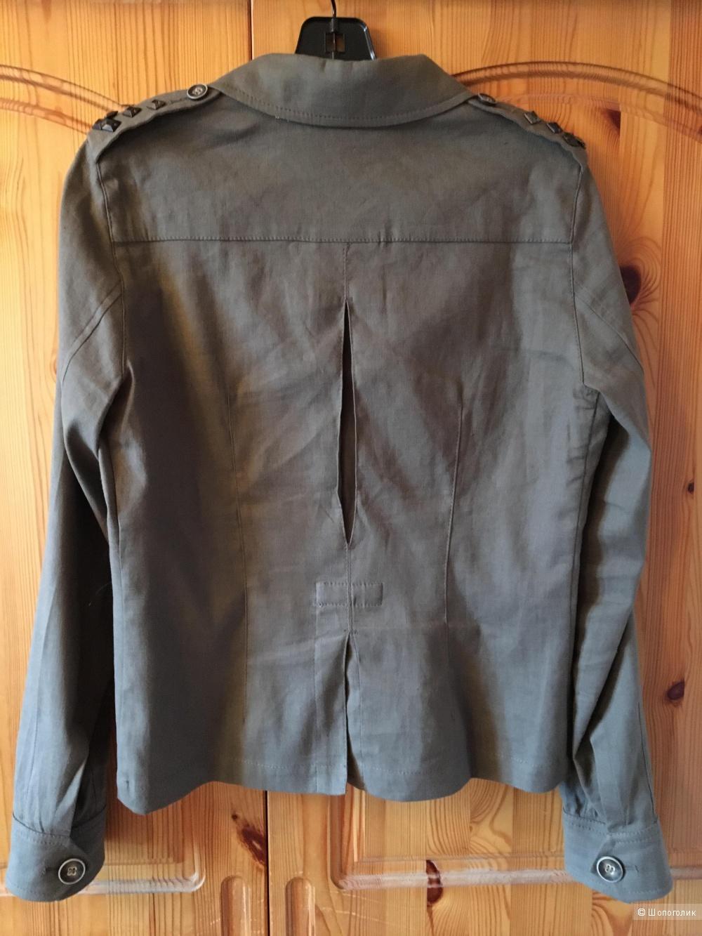 Стильный жакет MARELLA лен/хлопок цвета хаки, размер IT44 (на росс.46)