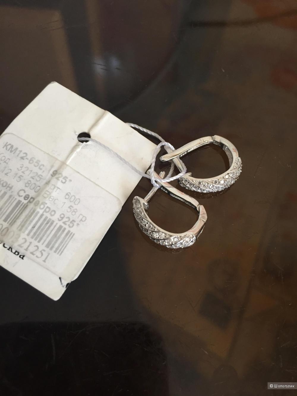 Новые серьги из серебра 925 пробы с цирконами
