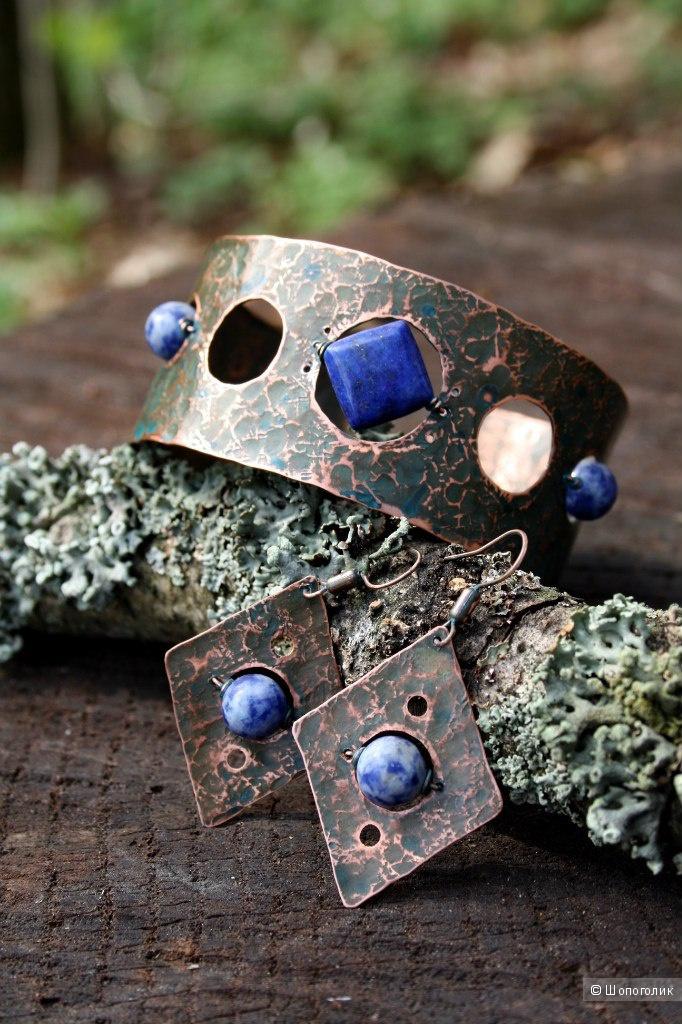 Комплект из меди (серьги, браслет) с лазуритом и содалитом