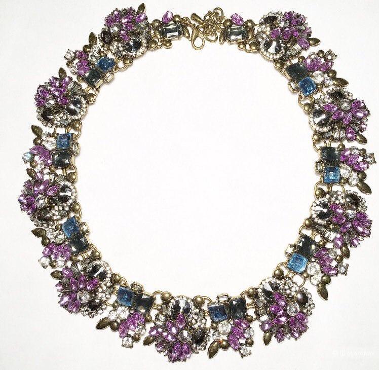 Фиолетовое колье с кристаллами