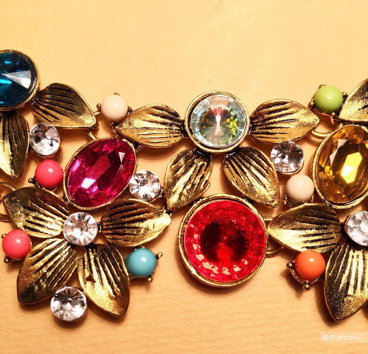 Разноцветное цветочное золотое колье - бижутерия