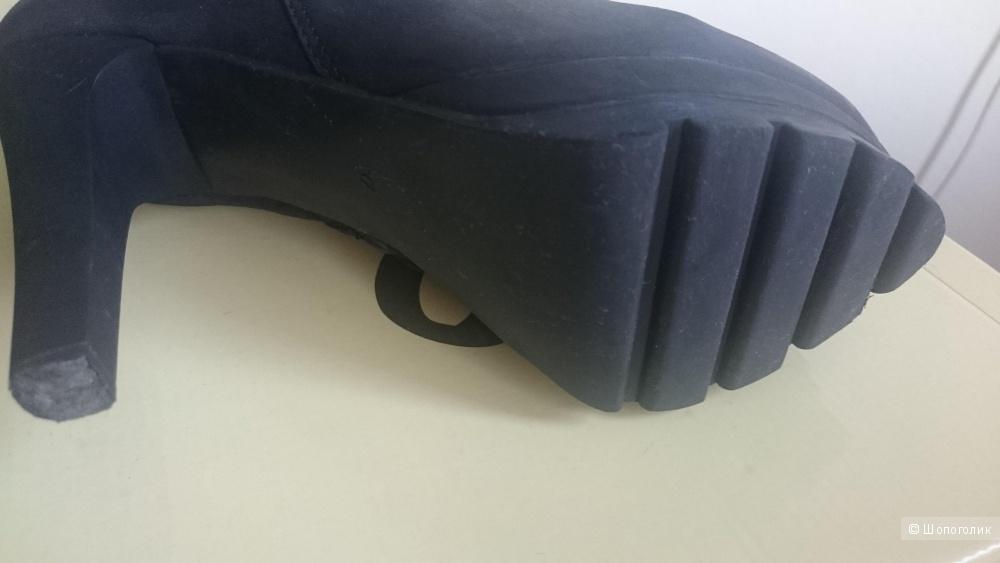 Полусапожки польской марки Simen  зимние, черный нубук, каблук 11см, платформа 2,5см,  размер37