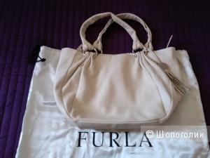 Сумка Furla, Италия, винтаж, кожа, кремово-бежевого цвета.