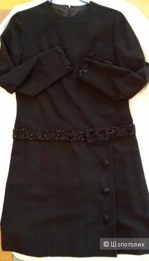 Платье винтажное в стиле ретро, черное, с вышивкой бисером, 46 размер (до небольшого 48)