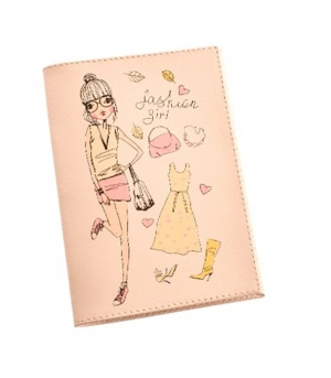 Обложка для паспорта из коллекции «Fashion girl» Befler 100% кожа бежевого цвета