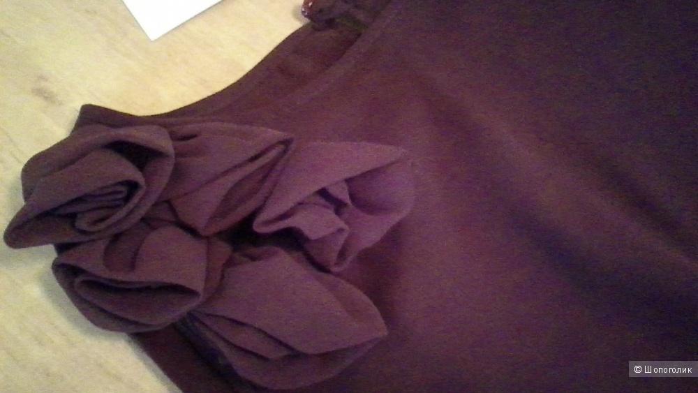 Блуза-топ р.44-46 коричневая 2-х-слойный шифон на выход