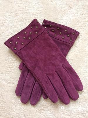 Перчатки замшевые бордовые 7-8 разм