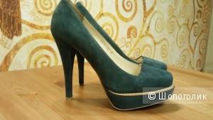 Бирюзово-изумрудные туфли Mascotte(Италия) , натуральная замша