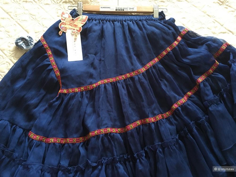 Шикарная шифоновая юбка BOSHOW в Бохо-стиле, новая, наш 42-48 размер