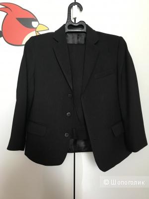 Школьный брючный костюм чёрный в тонкую полоску размер 140