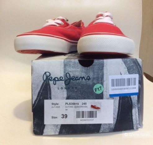 PEPE JEANS, красные низкие кеды, 39 Евр. размер
