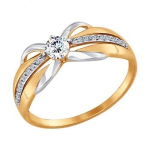 Золотое кольцо с фианитами Sokolov размер 17 новое