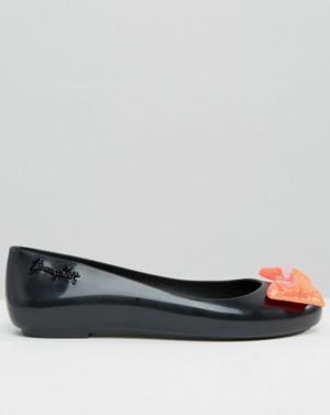 Черные туфли на плоской подошве с контрастным бантом Melissa + Jeremy Scott Space Love, 36-36,5.
