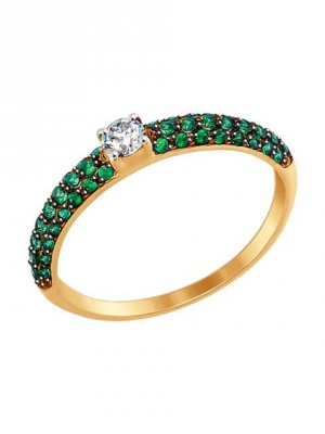Золотое кольцо с бесцветным и зелеными фианитами Sokolov размер 17 новое