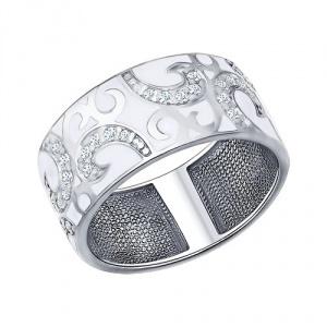 Кольцо SOKOLOV из серебра с эмалью с фианитами 17.5