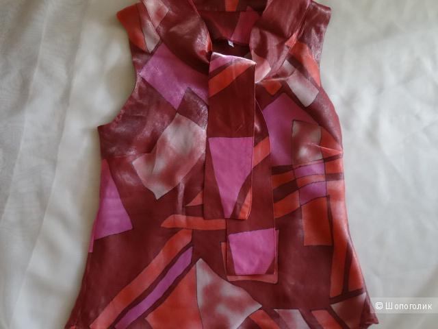 Блузка с шалевым воротом с завязками, размер 44, б/у