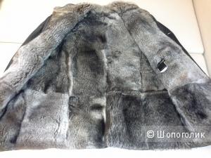 Пальто Bona Dea кожаное, на нат меху,  размер 50-52
