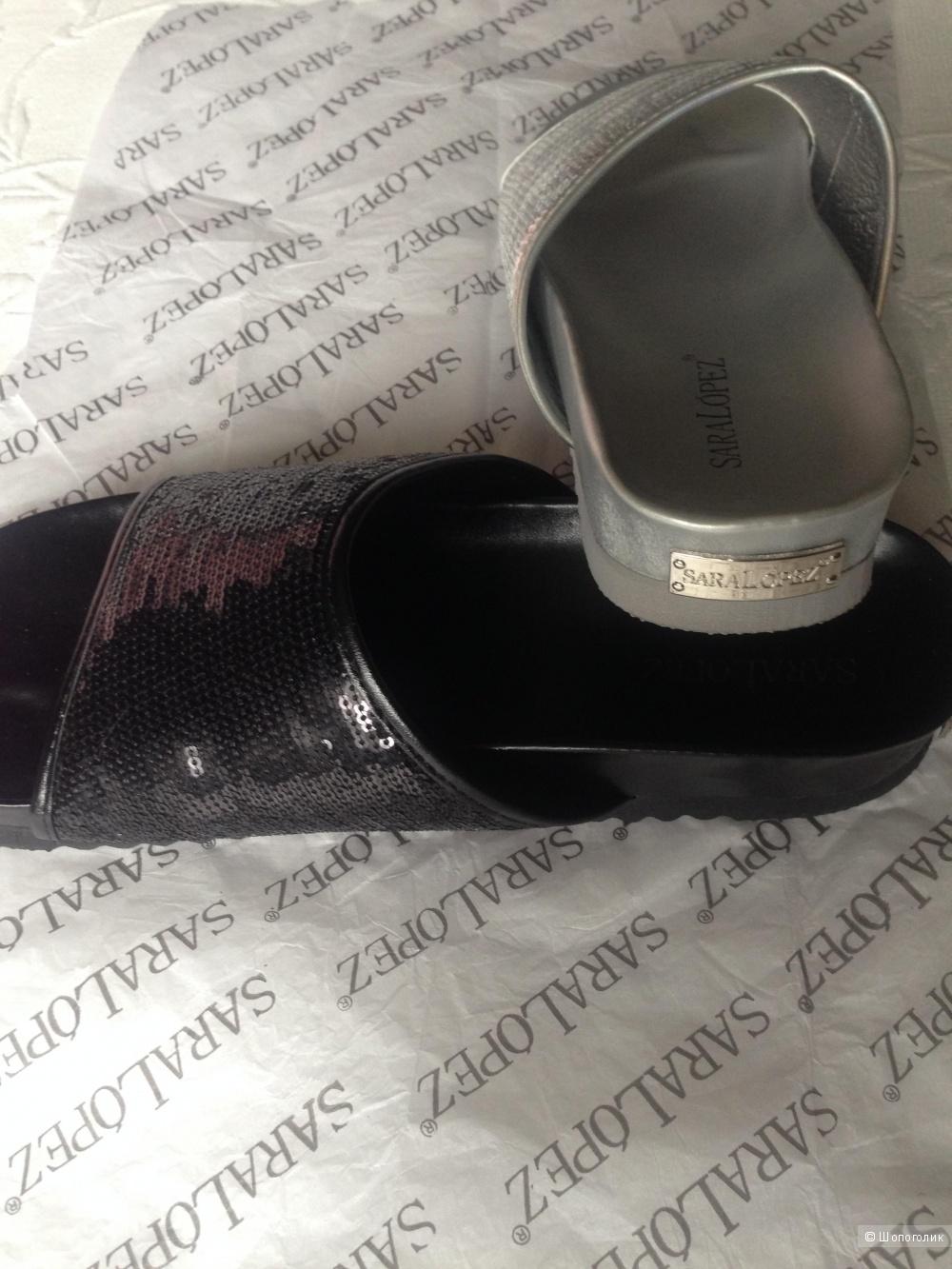 Новые кожаные пантолеты шлепки 39 Sara Lopez Италия оригинал
