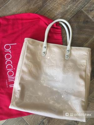 Большая,кожаная сумка-шопер Braccialini
