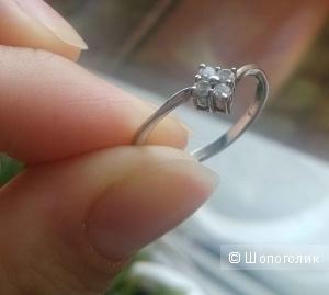 Серебряное кольцо с фианитами, 19 размер