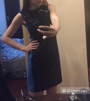 Синее платье с кружевом  расшитое паетками 42 размер XS