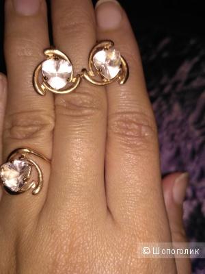 Золотой комплект серьги и кольцо