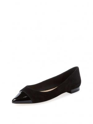 Черные замшевые балетки Ava & Aiden. Размер 8US/38EUR, 24,5 см по стельке.