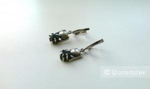 Серьги с ониксом серебро 925 пробы