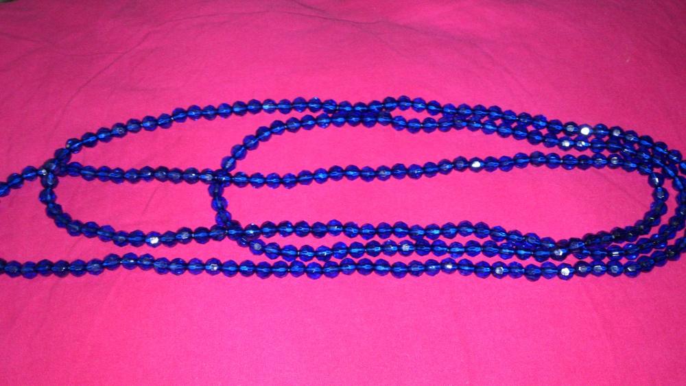 Бусы с синими огранёнными шариками, Lady Collection