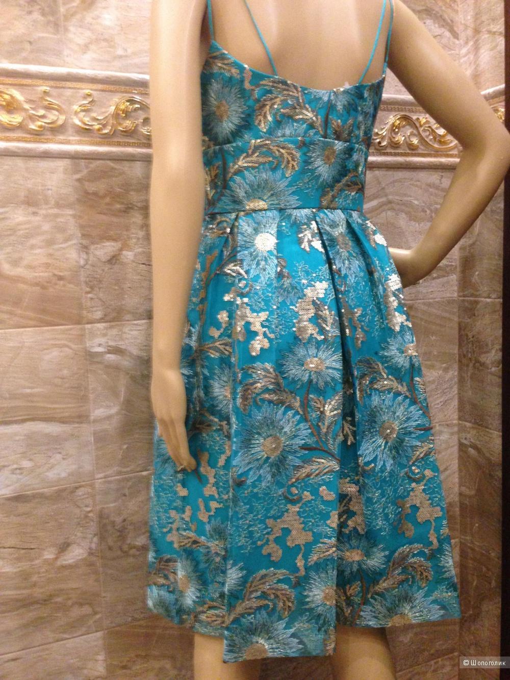 KAY UNGER расшитое бирюзовое платье от дизайнера р.44 Новое.Оригинал