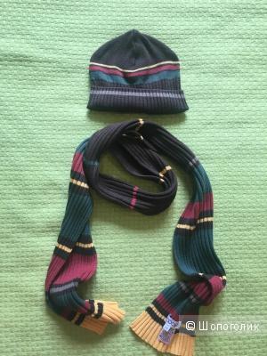 Детский комплект шарф+шапка,54 размер