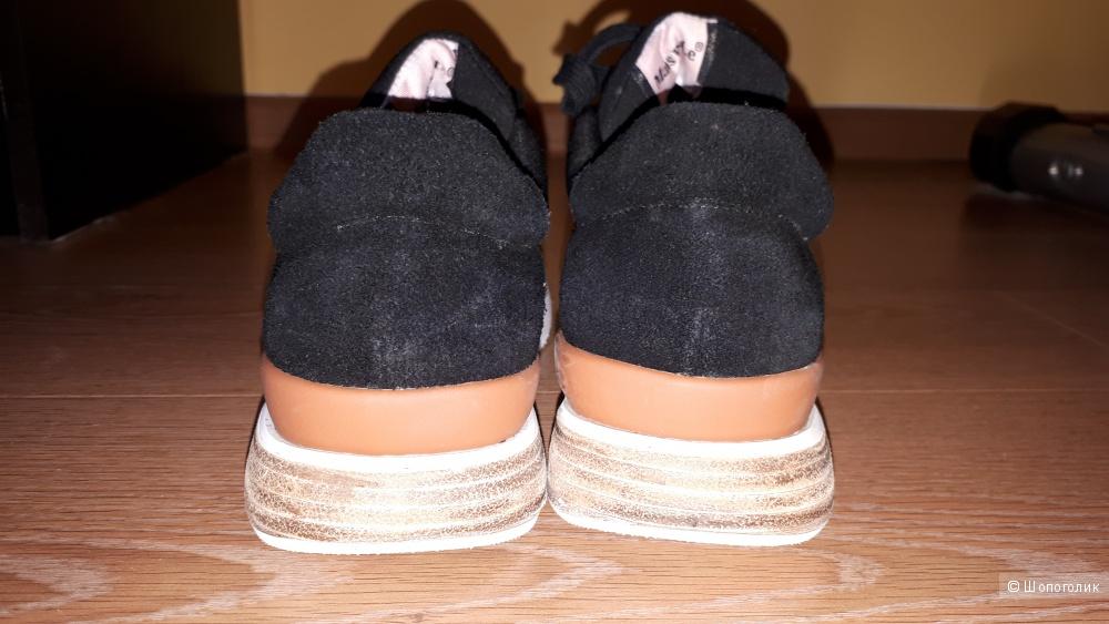 Кроссовки из текстиля и нубука Mans Bale со вставками из дерева в подошве на 35-35,5 размер