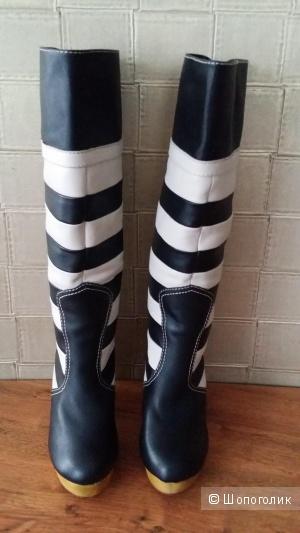Стильные кожаные сапоги на меху LOLA RAMONA (Дания), 36 размер
