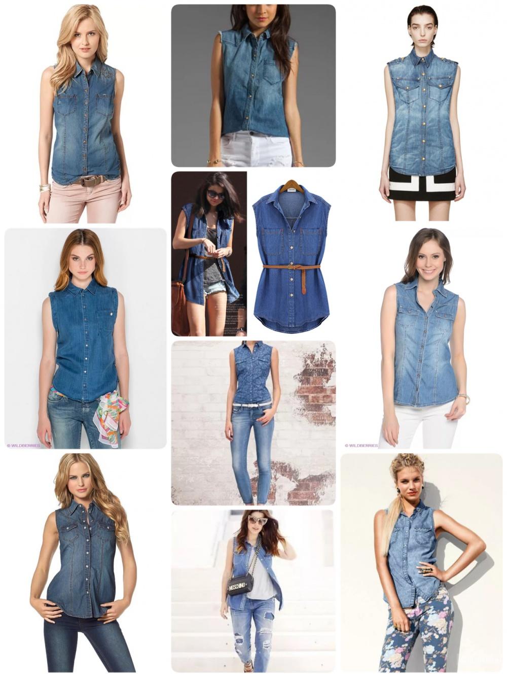Джинсовая рубашка-безрукавка Jacqueline de Yong, размер 36