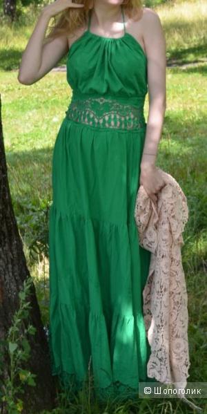 Роскошный зеленый сарафан-хлопок, размер 42-44-46
