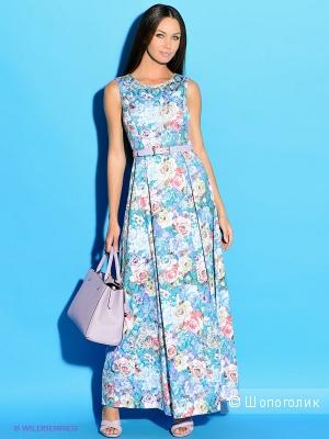 Цветочное макси платье Colambetta  из жаккардового хлопка, размер 44-46.