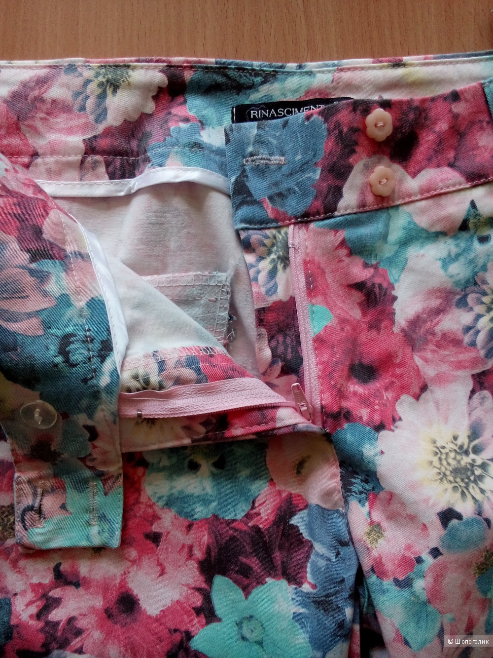 Джинсы с цветочным принтом RINASCIMENTO Rosa Pink Италия в размере L(46-48)