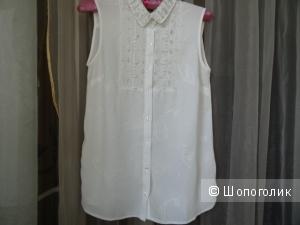 """Блузка """"Zolla"""" с шитьём и жемчугом, размер S, б/у"""