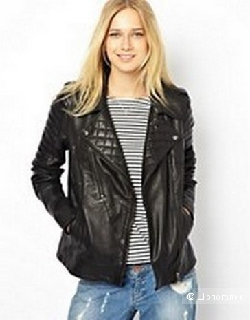 Кожаная куртка Urbancode Leather Jacket With Padding Detail, UK 14, 48 р.