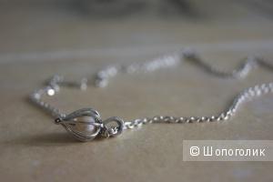 Серебряная цепочка с жемчужным кулоном