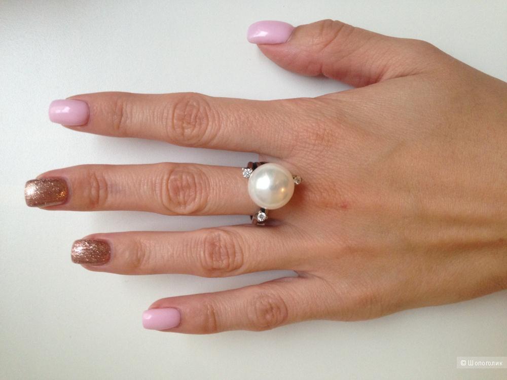 Кольцо серебро 925 с жемчужиной и фианитами